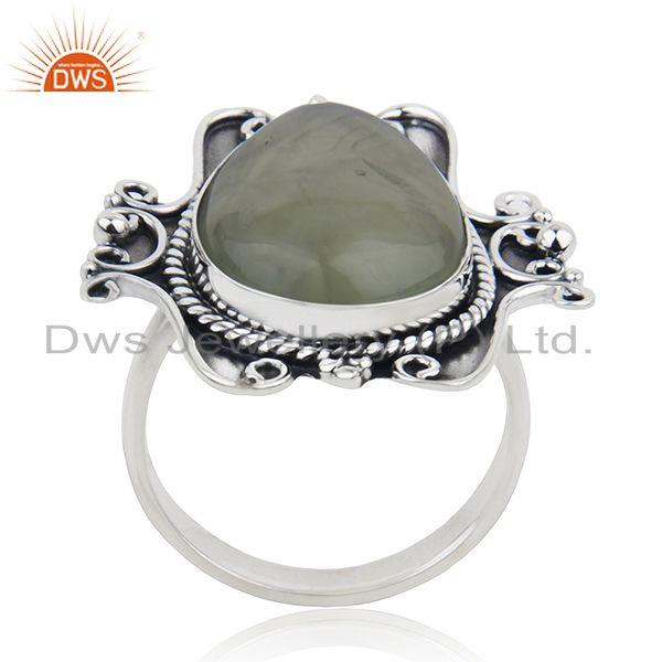 Exporter Black Oxidized Sterling Silver Prehnite Gemstone Ring Jewelry