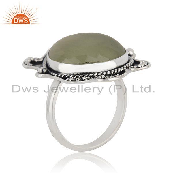 Exporter Black Oxidized 925 Silver Prehnite Gemstone Ring Jewelry