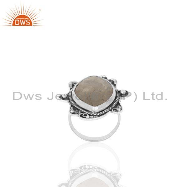 Exporter Oxidized 925 Silver Rainbow Moonstone Womens Rings Custom Jewelry Manufacturer