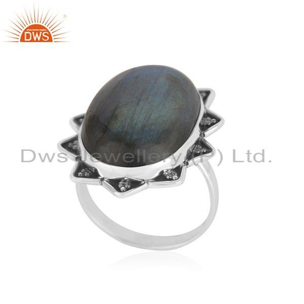Exporter Labradorite Gemstone 925 Silver Genuine Ring Jewelry Manufacutrer INdia