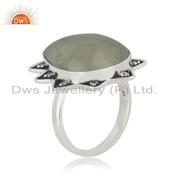 Exporter Handmade Sterling SIlver Oxidized Prehnite Gemstone Ring Jewelry