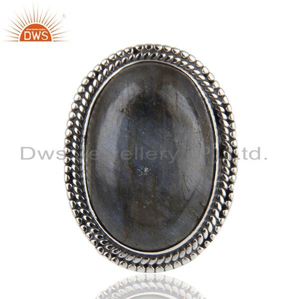 Exporter Labradorite Gemstone Oxidized Sterling 925 Silver Cocktail Ring Manufacturer