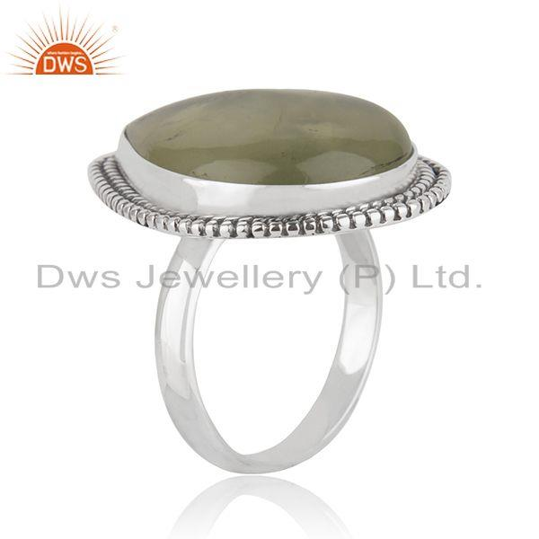 Exporter New Oxidized Sterling SIlver Prehnite Gemstone Ring Jewelry Supplier
