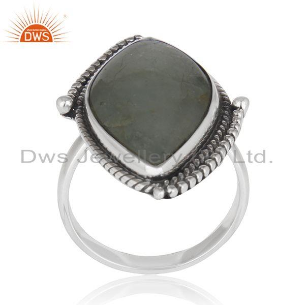 Exporter Aquamarine Gemstone Womens Silver Oxidized Ring Jewelry Supplier