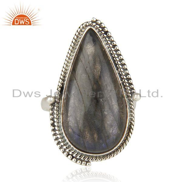 Exporter Labradorite Gemstone 925 Sterling Silver Oxidized Statement Ring Manufacture