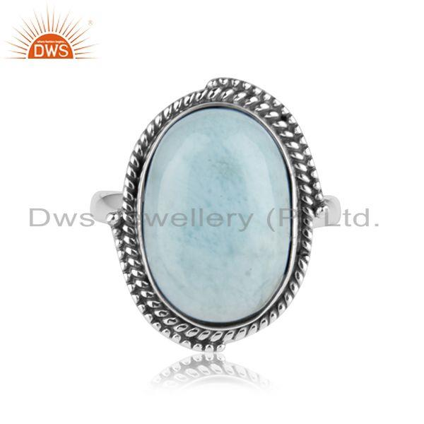 Exporter Natural Larimar Gemstone Oxidized 925 Sterling Silver Statement Ring Manufacture