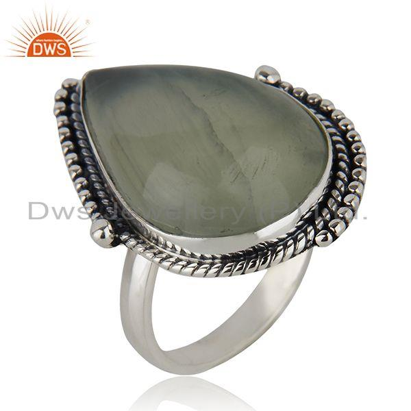 Exporter Designer Sterling Silver Oxidized Prehnite Gemstone Ring Jewelry