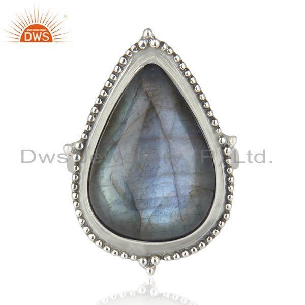 Exporter Labradorite Gemstone Oxidized 925 Sterling Silver Statement Ring Manufacturer