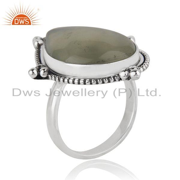 Exporter Prehnite Gemstone Oxidized Sterling Silver Ring Manufacturer India