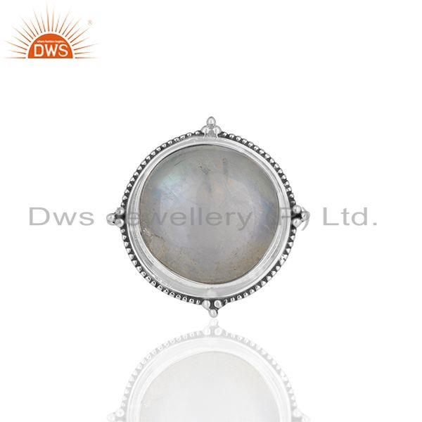Exporter Natural Rainbow Moonstone 925 Silver Cocktail Ring Manufacturer India