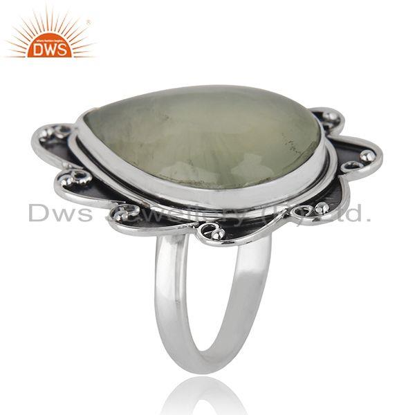 Exporter Floral Sterling Silver Oxidized Prehnite Ring Jewelry