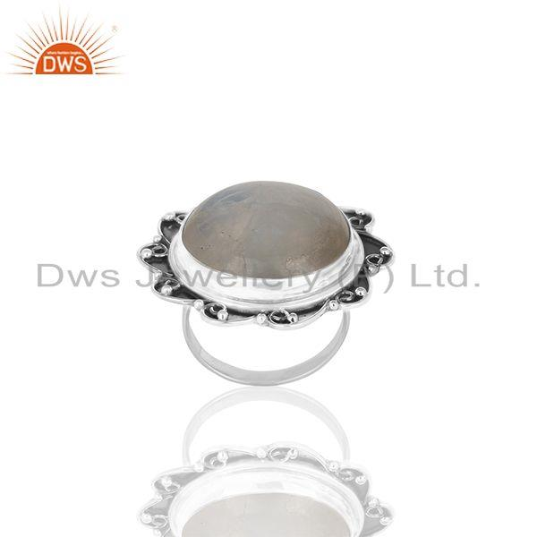 Exporter Oxidized 925 Silver Rainbow Moonstone Cocktail Ring Manufacturer Custom Jewelry