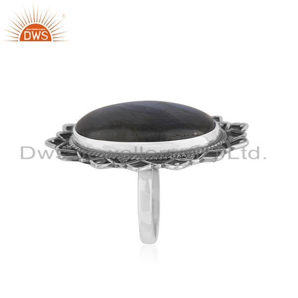 Exporter Labradorite Gemstone Oxidized 925 Silver Statement Ring Manufacturer India