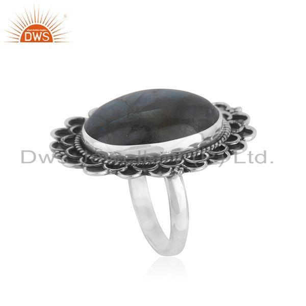 Exporter Designer Oxidized Sterling Silver Labradorite Gemstone Cocktail Ring Wholesaler