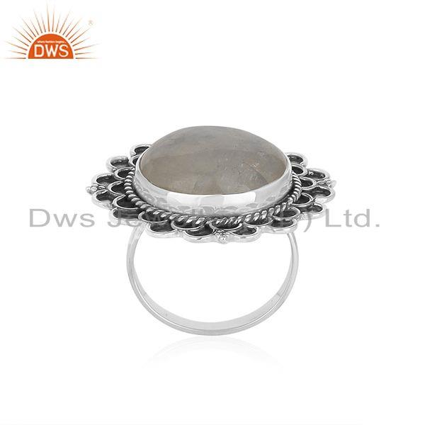 Exporter Rainbow Moonstone Round Oxidized 925 Silver Cocktail Ring Jewellery