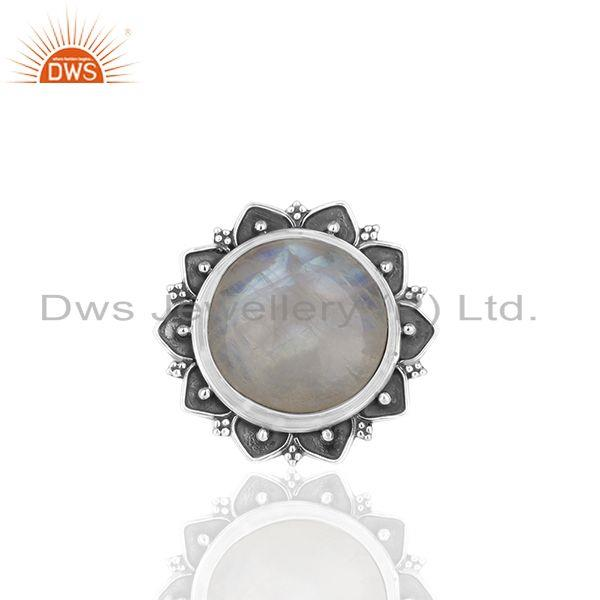 Exporter Designer 925 Silver Rainbow Moonstone Cocktail Customized Ring Manufacturer