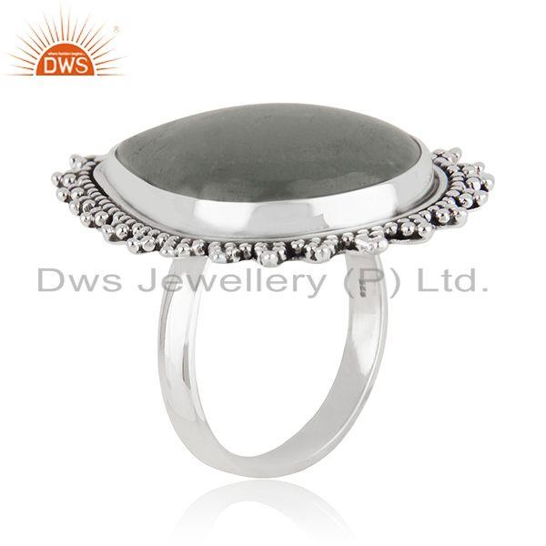 Exporter Indian Sterling Silver Oxidized Aquamarine Gemstone Ring Jewelry