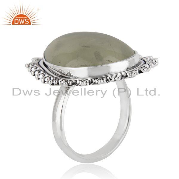 Exporter Natural Prehnite Gemstone Silver Oxidized Ring Jewelry