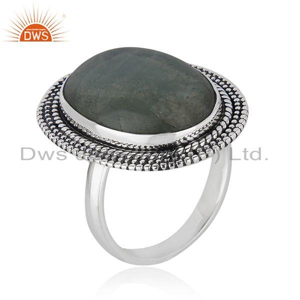 Exporter Natural Aquamarine Gemstone Sterling Silver Oxidized Ring Jewelry