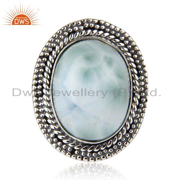 Exporter Larimar Gemstone 925 Sterling Silver Cocktail Ring Manufacturer Jaipur