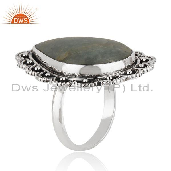 Exporter Aquamarine Gemstone Sterling Silver Oxidized Ring Jewelry