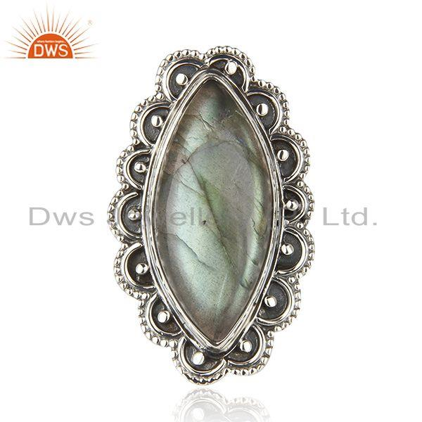 Exporter Natural Labradorite Gemstone 92.5 Oxidized Sterling Silver Handcrafted Rings