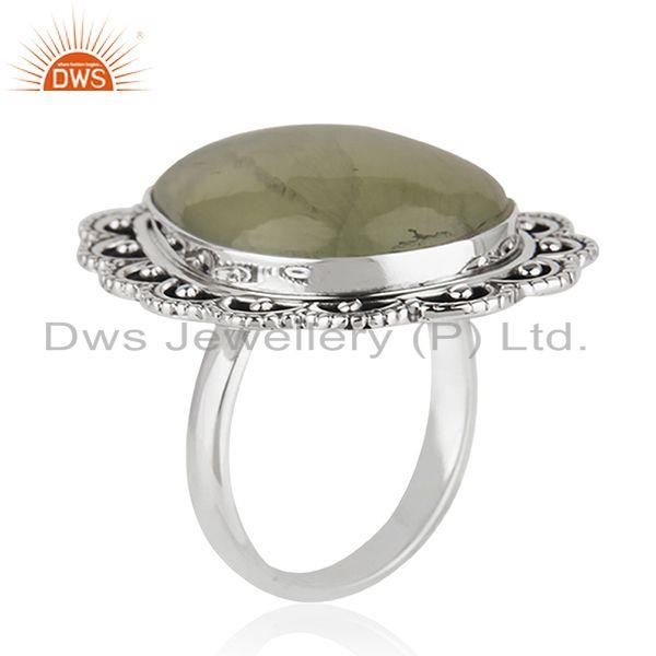 Exporter Wholesale Prehnite Gemstone Oxidized Silver Ring Jewelry