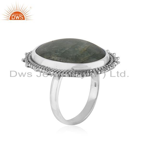 Exporter Indian sterling Silver Oxidized Aquamarine Stone Ring Jewelry