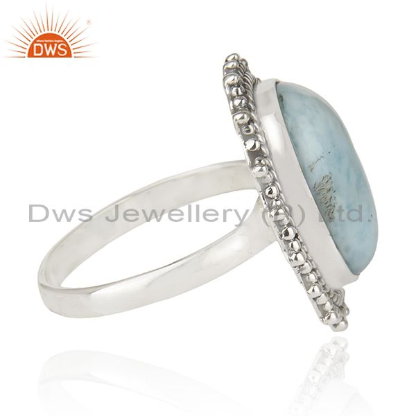 Exporter Larimar Gemstone 925 Sterling Silver Statement Ring Manufacturer Jaipur India