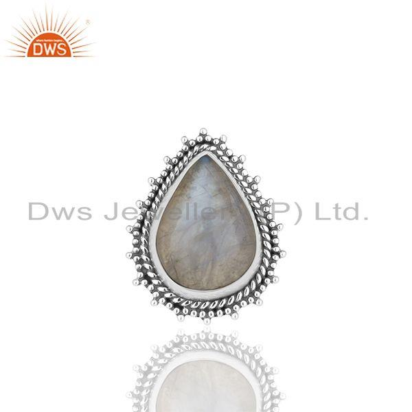 Exporter Designer Sterling Silver Rainbow Moonstone Girls Rings Jewelry Manufacturers