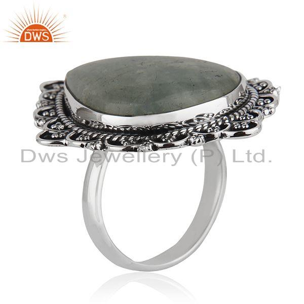 Exporter Oxidized Sterling Silver Aquamarine Ring Jewelry