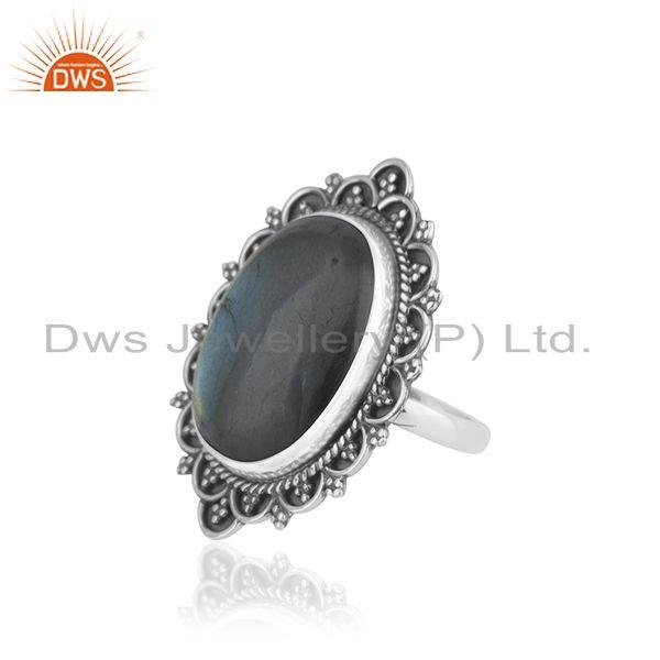 Exporter Handcrafted 925 Silver Antique Look Labradorite Gemstone Ring Manufacturer India