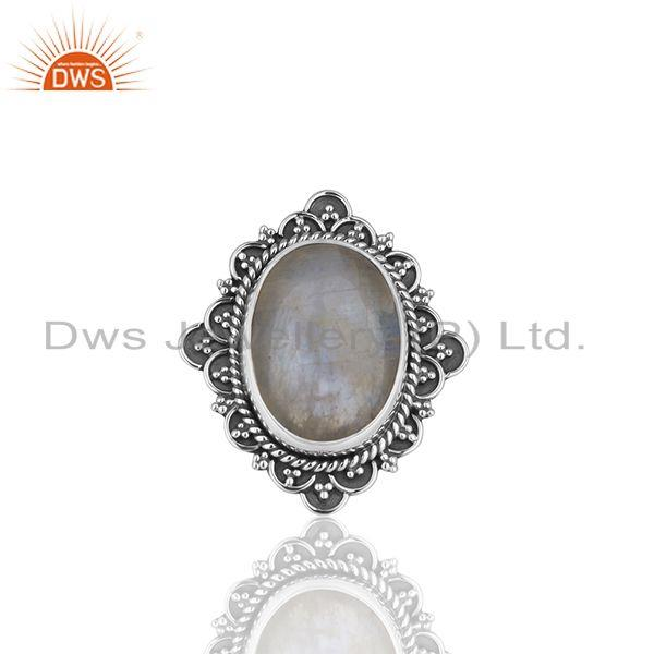 Exporter Wholesale 925 Silver Oxidized Rainbow Moonstone Girls Ring Jewelry Manufacturer