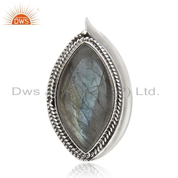 Exporter Labradorite Gemstone Oxidized 925 Sterling Silver Statement Ring Supplier India