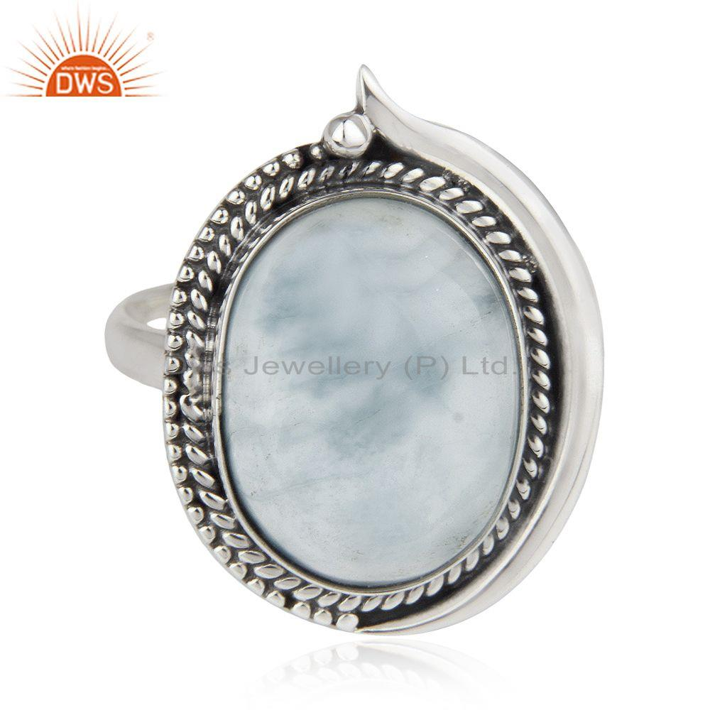Exporter Larimar Gemstone 92.5 Sterling Silver Cocktail Ring Jewelry Wholesale