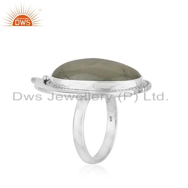 Exporter Prehnite 925 Sterling Silver Oxidized Ring Jewelry Supplier