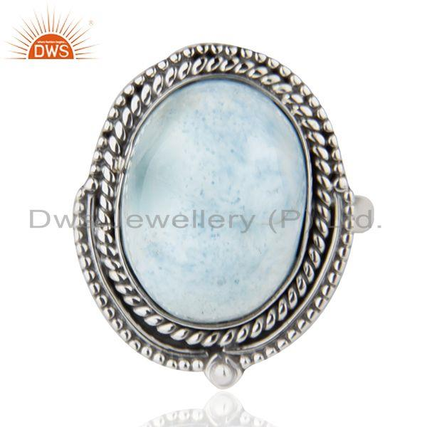 Exporter Larimar Gemstone Oxidized 925 Sterling Silver Statement Ring Suppliers Jaipur