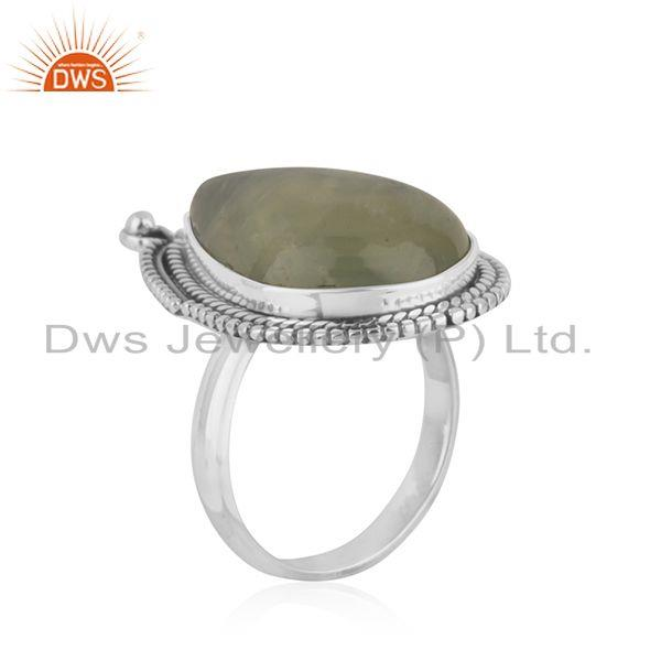 Exporter Natural Prehnite Gemstone Oxidized Silver Ring Jewelry