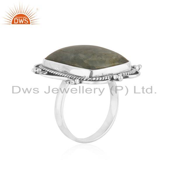 Exporter Aquamarine 925 Sterling Silver Oxidized Ring Jewelry Supplier