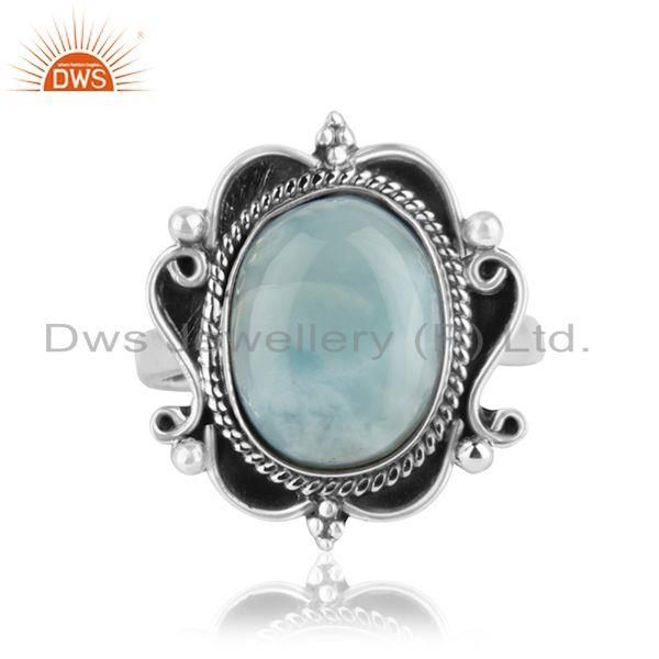 Exporter Natural Larimar Gemstone Oxidized Sterling Silver Designer Ring Suppliers Jaipur