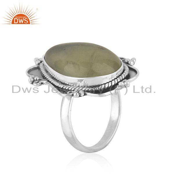 Exporter New Arrival Prehnite Gemstone Oxidized Silver Ring Jewelry