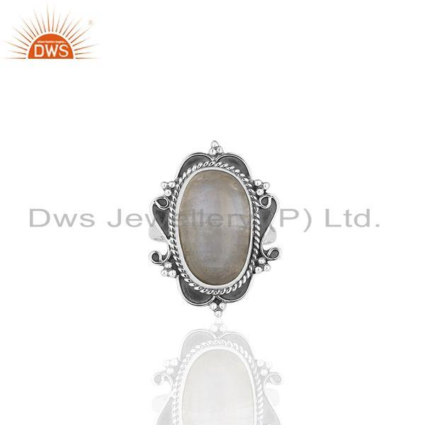 Exporter Rainbow Moonstone Oxidized Sterling 92.5 Silver Ring Manufacturer from India