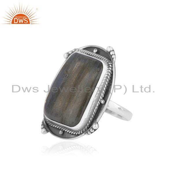 Exporter Natural Labradorite Gemstone Oxidized Sterling Silver Ring Manufacturer