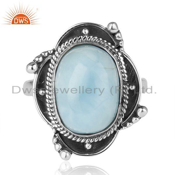 Exporter Designer Sterling Silver Oxidized Larimar Gemstone Statement Ring Supplier INDIA