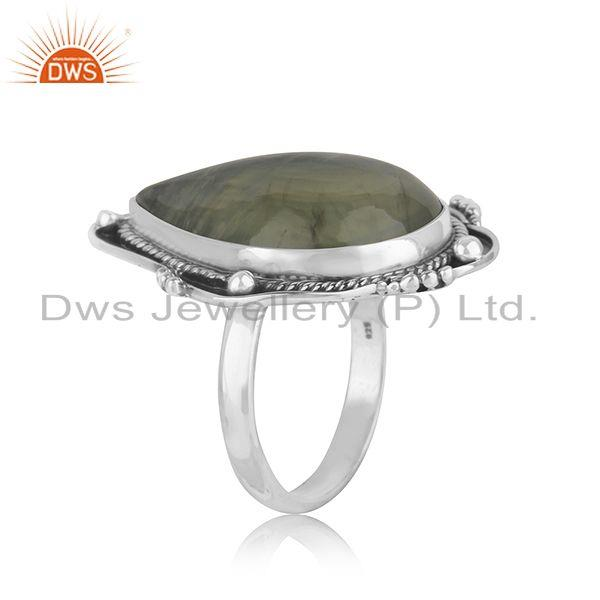 Exporter Prehnite Gemstone Designer Oxidized Sterling Silver Ring Jewelry