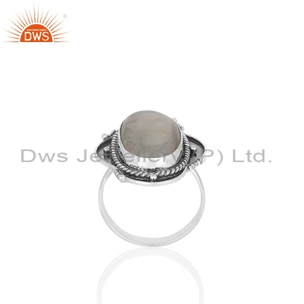 Exporter Oxidized 925 Sterling Silver Moonstone Customized Ring Jewelry Manufacturer
