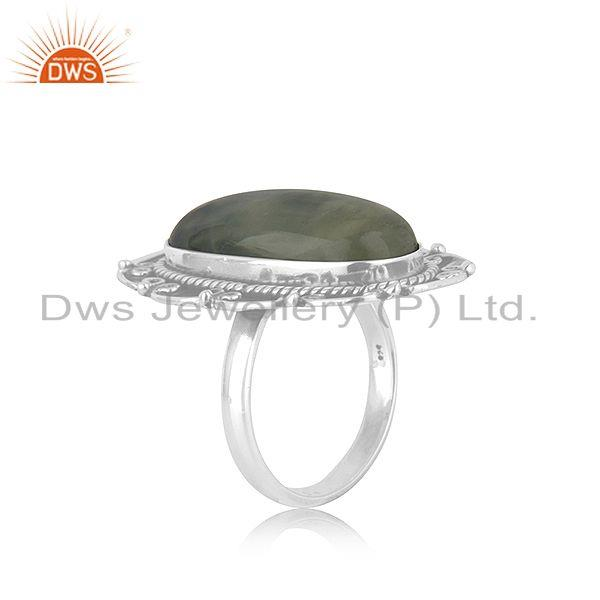 Exporter New Oxidized Sterling Silver Prehnite Ring Jewelry