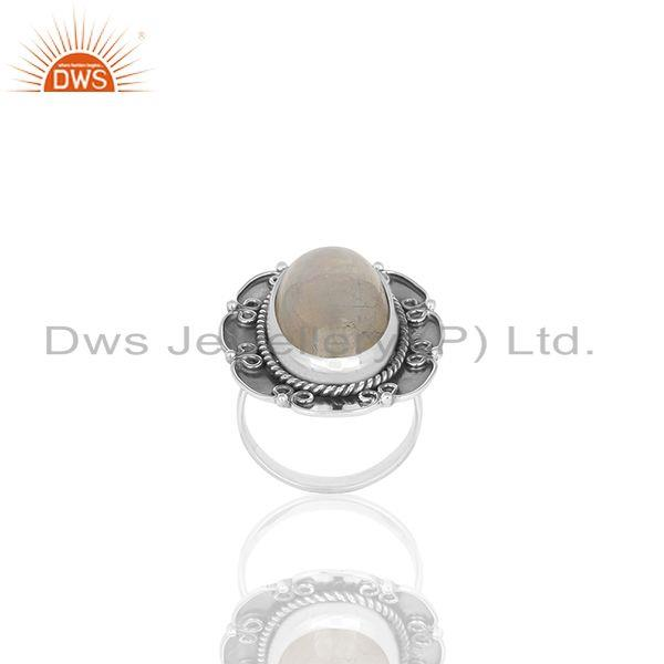 Exporter Solid 925 Silver Oxidized Rainbow Moonstone Cocktail Rings Manufacturers