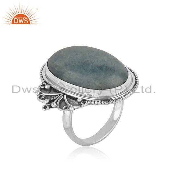Exporter Oxidized Designer Silver Aquamarine Stone Ring Jewelry Supplier