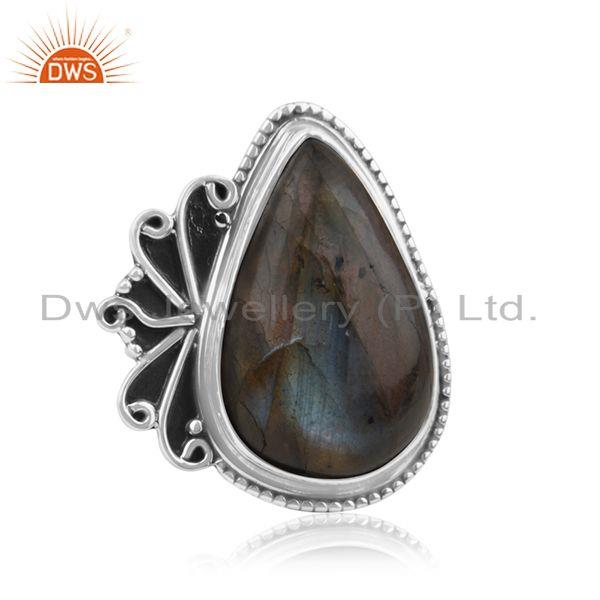 Exporter 925 Sterling Silver New Designer Labradorite Gemstone Ring Manufacturer India
